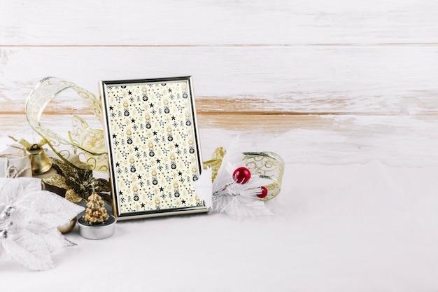 Maquete de quadro com elementos de natal Psd grátis