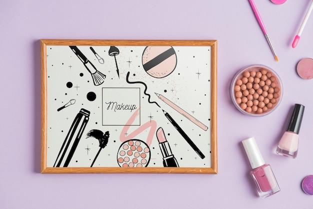 Maquete de quadro com o conceito de maquiagem Psd grátis