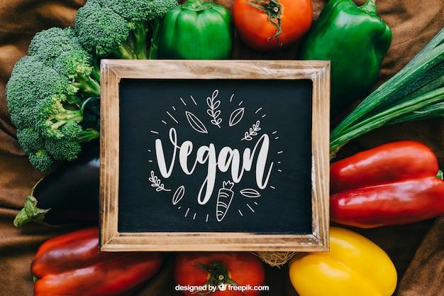 Maquete de quadro com projetos de vegetais Psd grátis