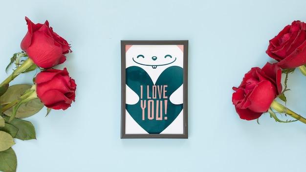 Maquete de quadro com rosas para dia dos namorados Psd grátis