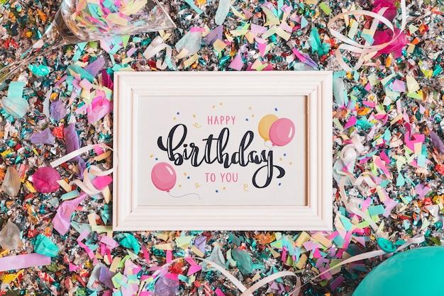 Maquete de quadro de aniversário com letras Psd grátis