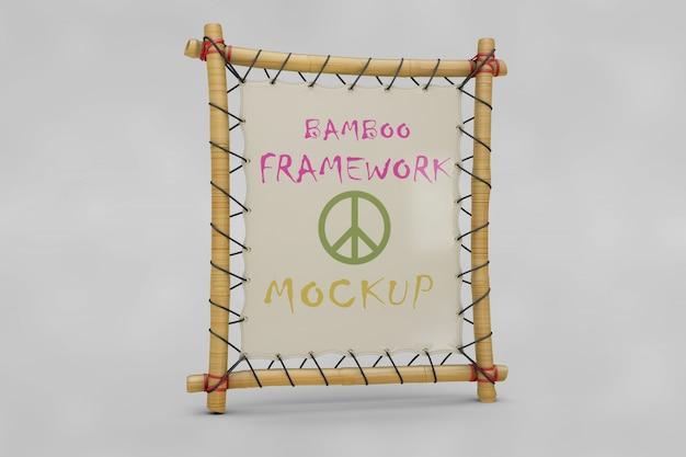 Maquete de quadro de bambu Psd grátis