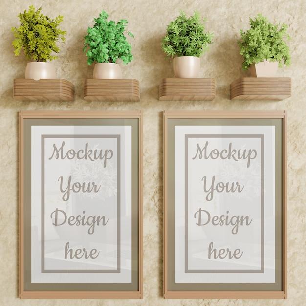 Maquete de quadro de cartaz de casal na parede com decoração de plantas Psd Premium