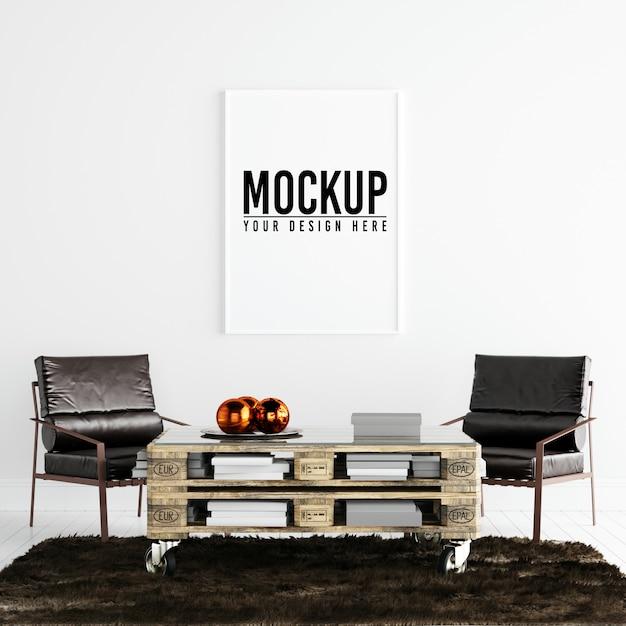 Maquete de quadro de cartaz no interior branco com decoração Psd Premium