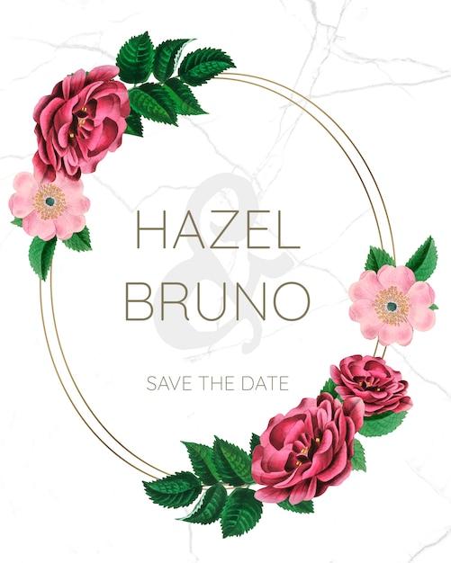 Maquete de quadro de casamento com rosas Psd Premium
