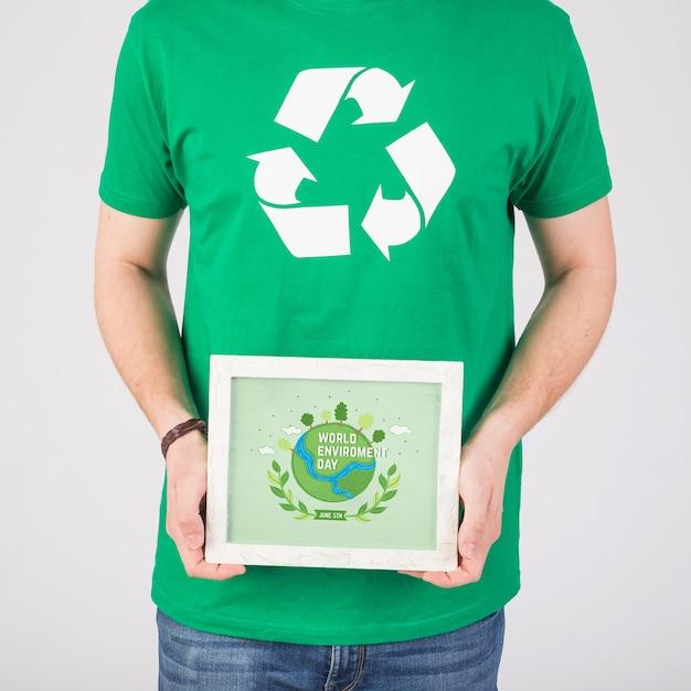 Maquete de quadro de dia de ambiente mundial Psd grátis