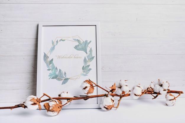 Maquete de quadro de primavera com elemento de algodão natural Psd grátis
