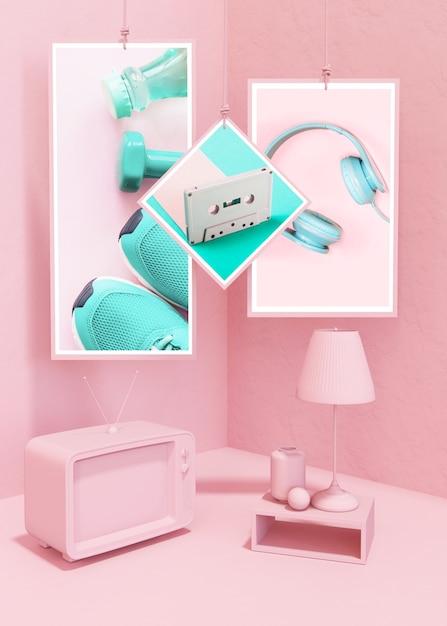 Maquete de quadro em estilo pop rosa Psd grátis