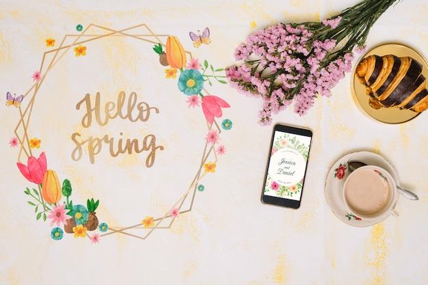 Maquete de quadro floral para a primavera Psd grátis