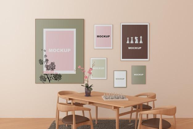 Maquete de quadro na sala de estar Psd grátis