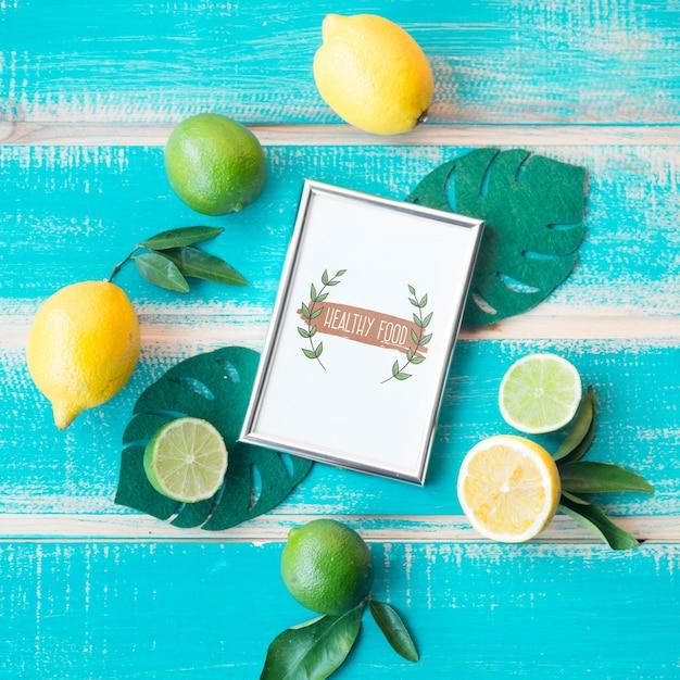 Maquete de quadro plana leigos com conceito de comida saudável Psd grátis