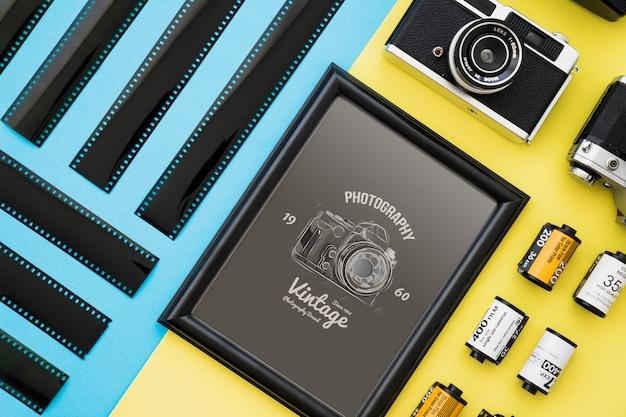 Maquete de quadro preto com o conceito de fotografia Psd grátis