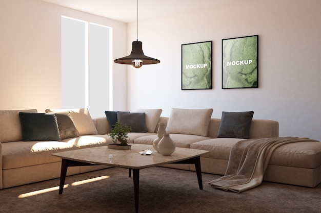 Maquete de quadros na sala de estar Psd grátis