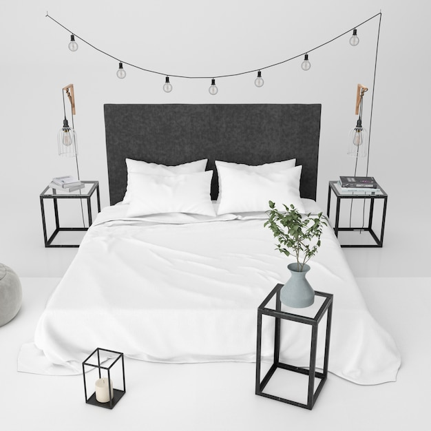 Maquete de quarto moderno com elementos decorativos Psd grátis