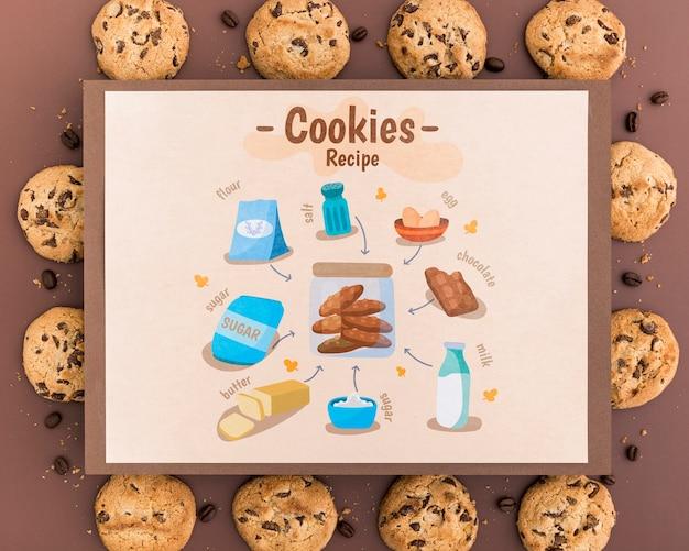 Maquete de receita de cookies Psd Premium