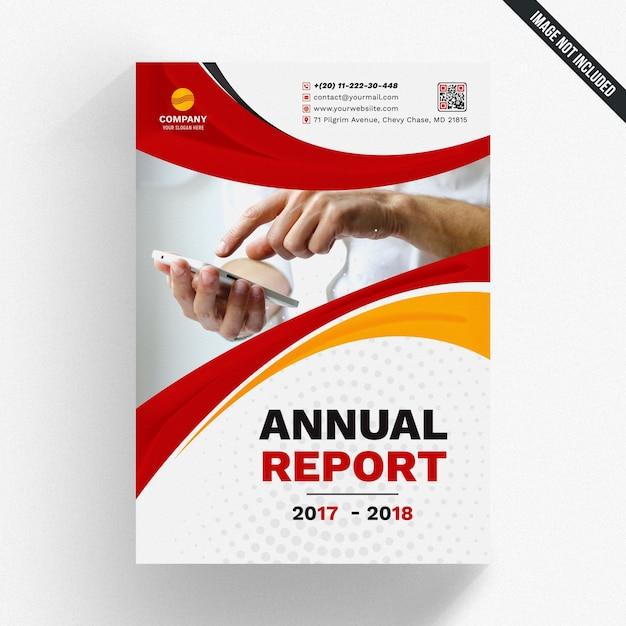 Maquete de relatório anual com formas onduladas Psd Premium