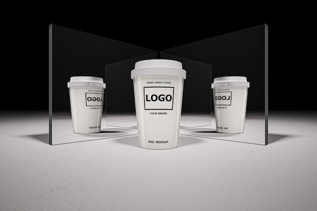 Maquete de renderização 3d da xícara de café branco Psd Premium