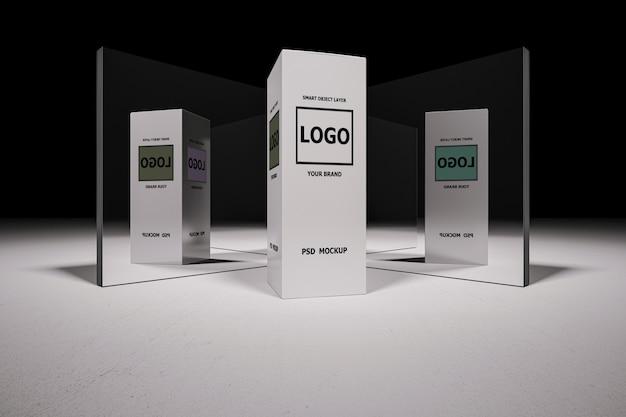 Maquete de renderização em 3d da caixa branca Psd Premium