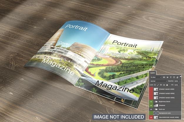 Maquete de revista aberta Psd grátis