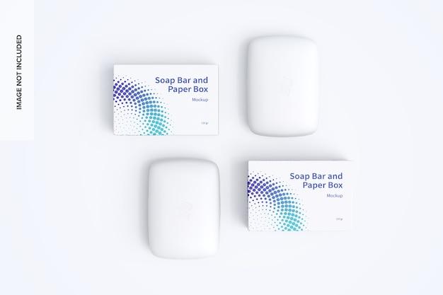 Maquete de saboneteira e caixas de papel Psd Premium
