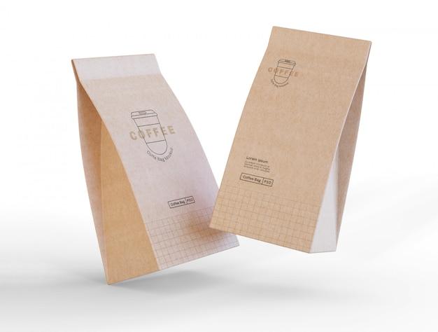 Maquete de sacos de café de papel Psd grátis