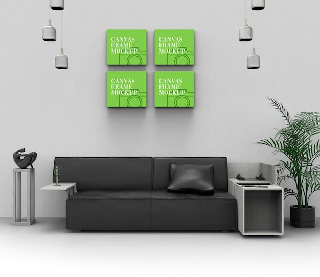 Maquete de sala de estar de parede de lona Psd Premium