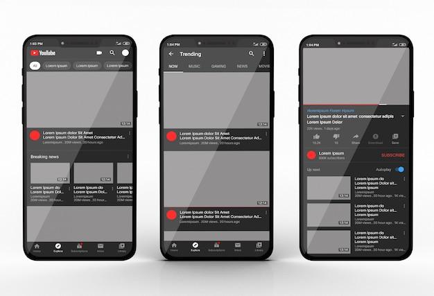 Maquete de smartphone com app do youtube Psd Premium