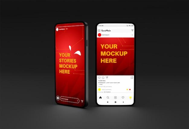 Maquete de smartphone com instagram stories e modelo de postagem Psd Premium