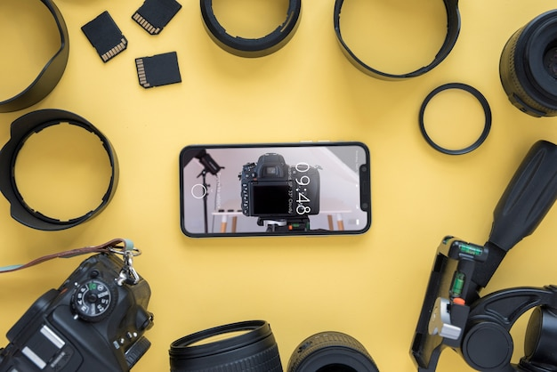 Maquete de smartphone com o conceito de fotografia Psd grátis