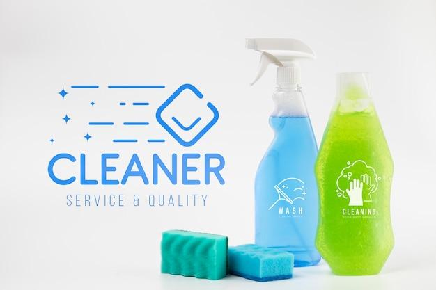 Maquete de spray de detergente e limpeza Psd grátis
