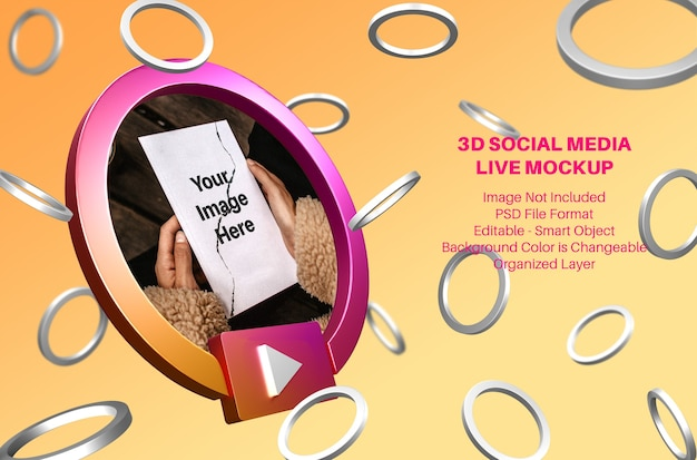Maquete de streaming ao vivo de mídia social 3d instagram com anéis voadores Psd Premium