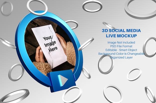 Maquete de streaming ao vivo de mídia social do facebook 3d Psd Premium