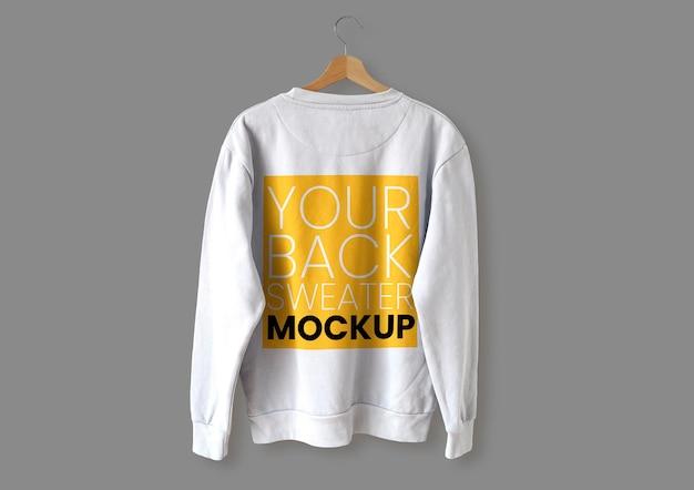 Maquete de suéter branco nas costas Psd grátis
