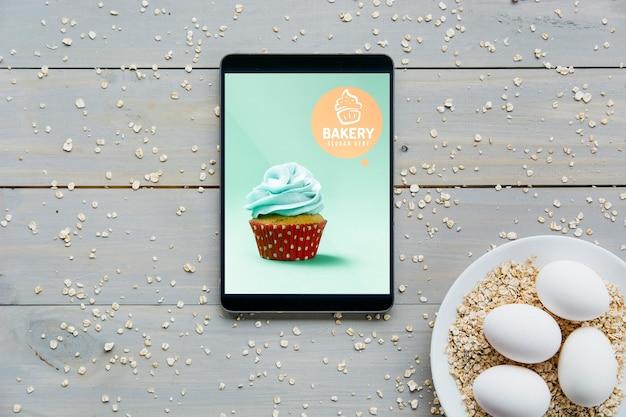 Maquete de tablet com conceito de cozinha Psd grátis