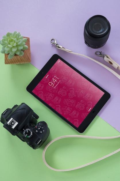 Maquete de tablet com conceito de fotografia Psd grátis