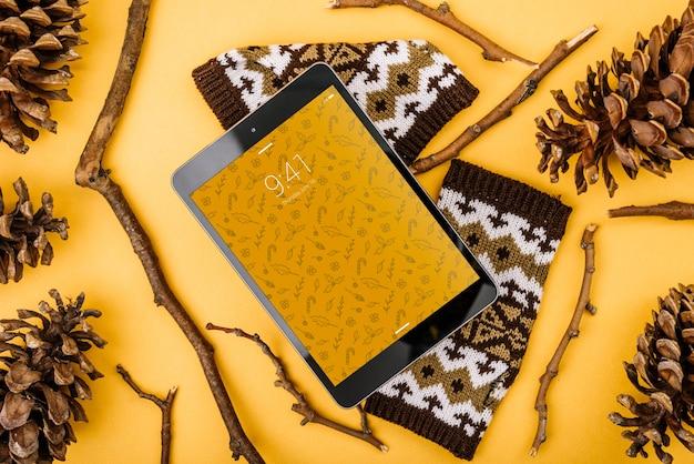 Maquete de tablet com conceito de natal Psd grátis