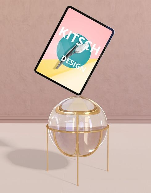 Maquete de tablet com conceito kitsch Psd grátis
