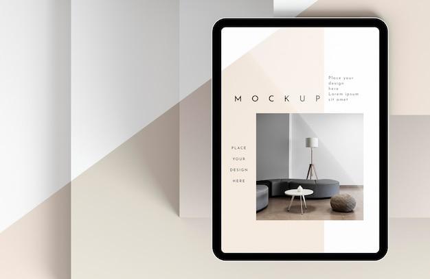 Maquete de tablet moderno com vista superior Psd grátis