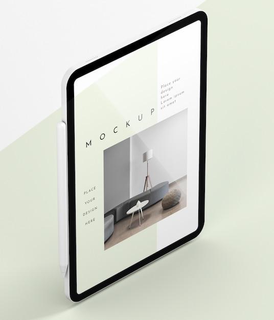 Maquete de tela de tablet moderna de ângulo alto Psd grátis