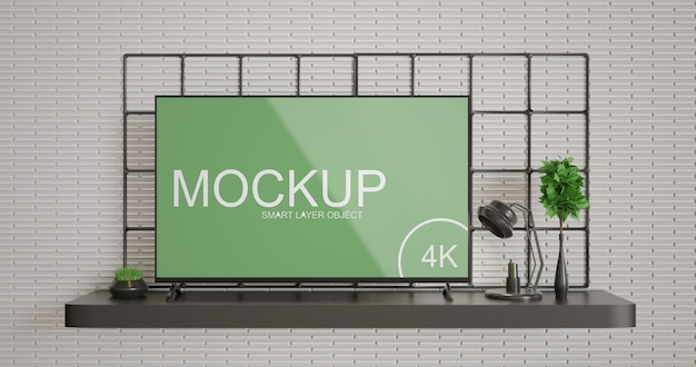 Maquete de tela de tv simples e minimalista Psd Premium