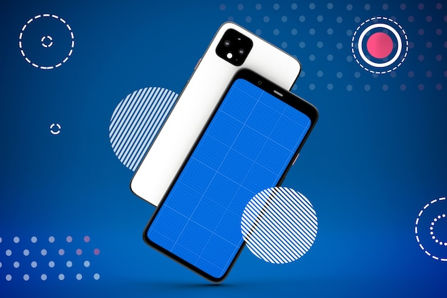 Maquete de tela do smartphone, vista frontal e traseira Psd Premium