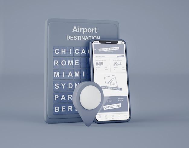 Maquete de tela smartphone. viagem de verão e o conceito de viagens. Psd Premium