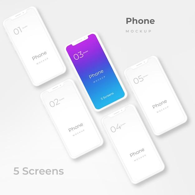 Maquete de telefone branco Psd Premium