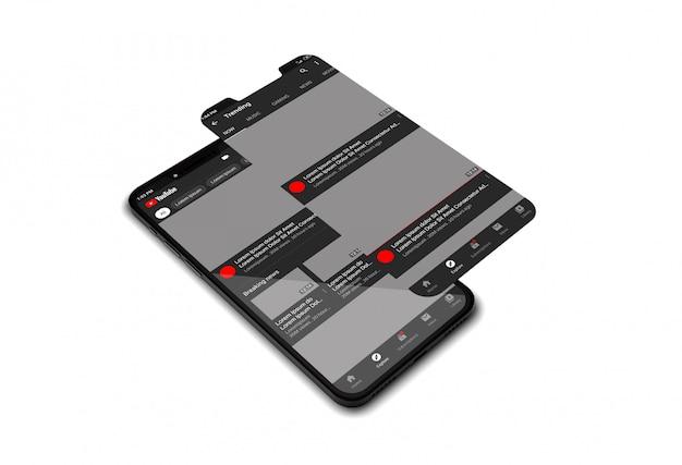 Maquete de telefone celular com o aplicativo do youtube Psd Premium