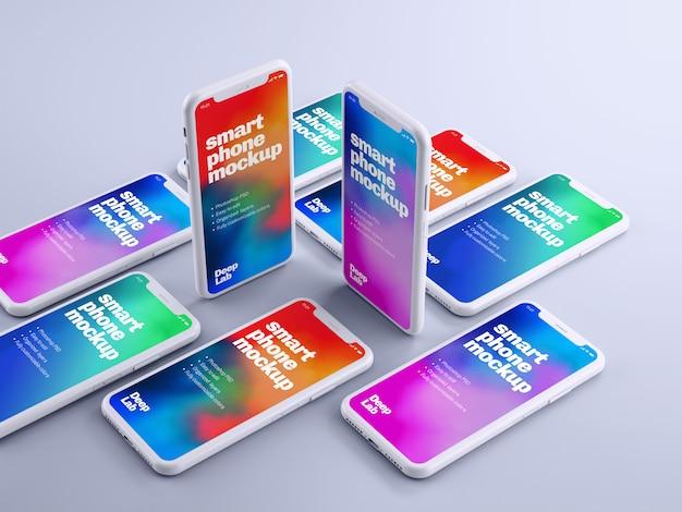 Maquete de telefone com parede editável Psd Premium