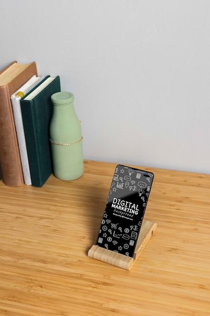Maquete de telefone de marketing digital Psd grátis