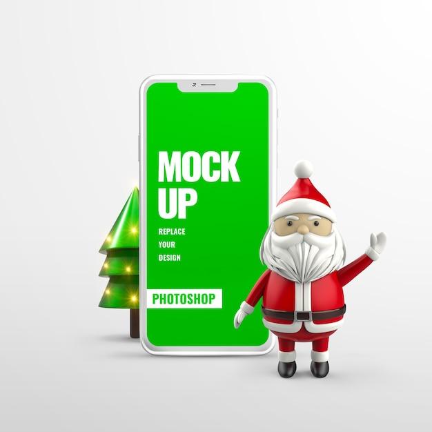 Maquete de telefone de natal de ano novo isolada Psd Premium