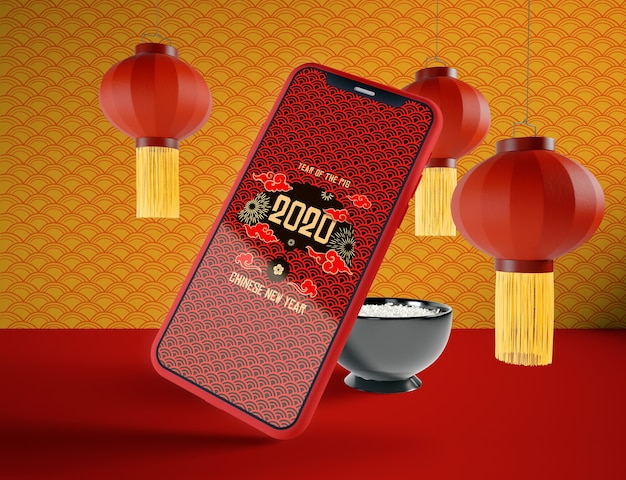 Maquete de telefone para o ano novo chinês Psd grátis