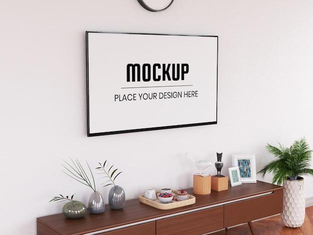 Maquete de televisão realista na sala de estar Psd Premium