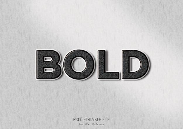 Maquete de textura de efeito de texto em negrito 3d Psd Premium